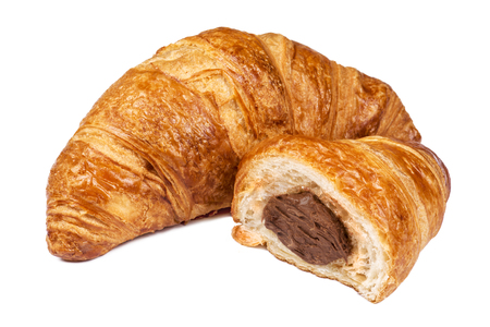 croissant: Fresh Croissant with chocolate filling isolated on white background Stock Photo