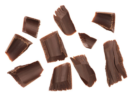 Chocolate chips on a white background