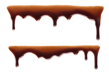 dripping: Melted chocolate dripping set on white background Stock Photo