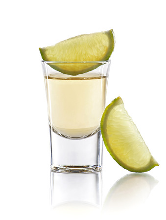 shot: A tequila shot with a slices of lime