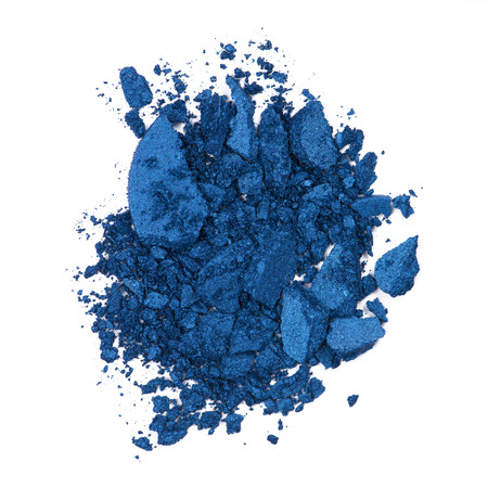 powder blue: Crushed eye shadow isolated on white Stock Photo