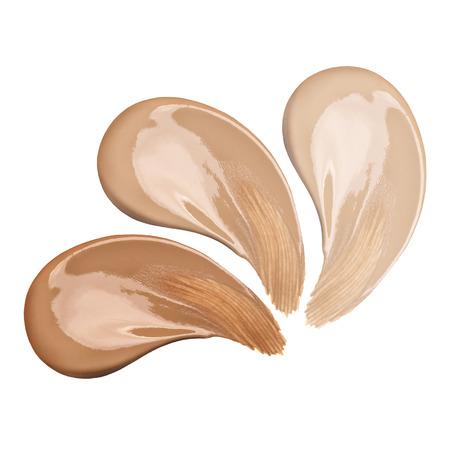 maquillage: taches Fondation gamme de couleurs sur fond blanc