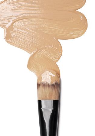 Foundation and make-up brush isolated on white