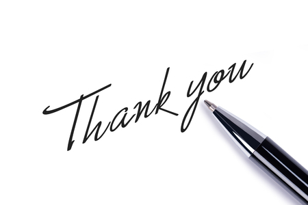 thank you cards: Thank you note on white background