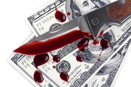 organized crime: �?nife,cash and blood splatters Stock Photo