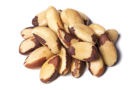 selenium: Brazilian walnuts on a white background Stock Photo