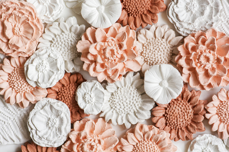 Close up ceramic flowers background
