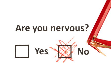 Are you nervous - text typing on the white paper