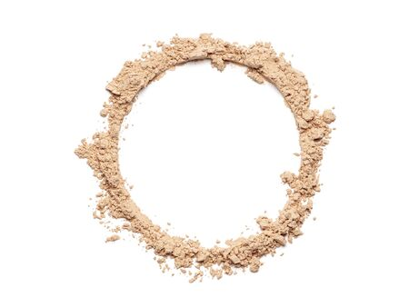 Make up crushed powder in the form of a circle on white background