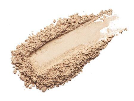 Face powder stroke isolated on white background