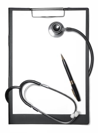 Stethoscope, black clipboard and pen isolated on white Stok Fotoğraf