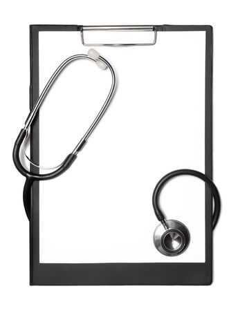 Stethoscope and black clipboard isolated on white