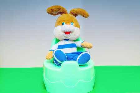 The toy rabbit sits on a chamber pot