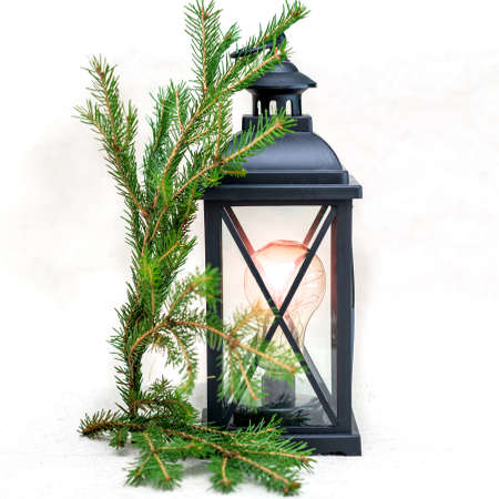 Black lamp under the old days with green twigs of spruce on a white background
