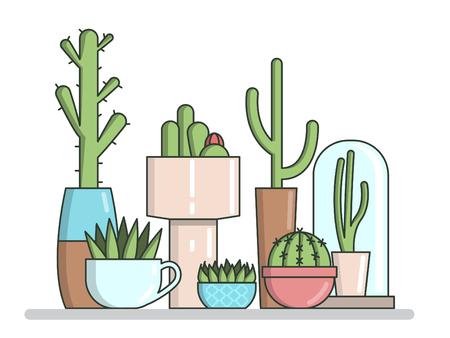 cactus set in pots. Flat vector illustration
