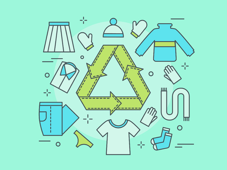 recycling of clothes. Secondary processing of clothing. Symbol of environmentally friendly non-waste production. A popular recycling trend. Vector illustration in a linear style.