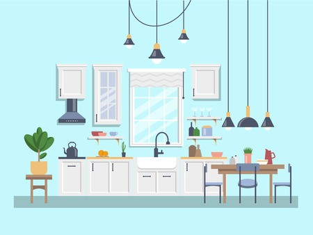 Interior of kitchen with dining area Modern design