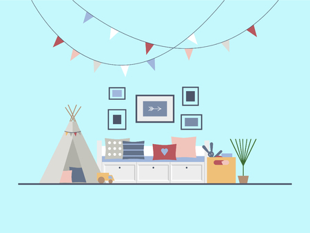 The interior of the children s room in a modern style. A bedroom with a game wigwam, toys and decor. For a boy or a girl. A room for a preschool child or a junior high school student. Flat vector illustration.