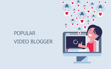Blog. A popular video blog. The girl blogger on the computer screen collects a lot of likes. Text inscription. Vector flat illustration. Ilustração Vetorial