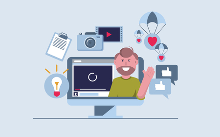 The process of creating and promoting a video blog. On the computer screen, a man waves his hand. Icons on the topic of blogging. Idea symbols, sheet of paper, video creation, social networks. Vector flat illustration.