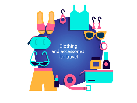 Clothing and accessories for travel. Summer set of clothes, accessories and shoes for girls, women. Shorts, top, sunglasses, clutch, waist bag, sandals, earrings, belt, cosmetics. In the center of the illustration is the text. Vector illustration. Vettoriali