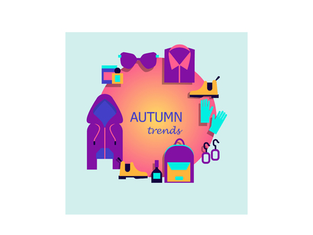 Autumn trends. Fashionable clothes for autumn. A set of women s clothing, accessories and cosmetics. The text is in the center. Vector illustration.