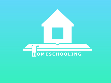 Homeschooling The symbol of family learning. The house is on the book