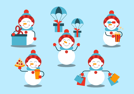 A set of snowmen. The snowman makes a purchase, gets a discount, receives gifts, eats pizza, watches a movie and eats popcorn. Vector illustration.