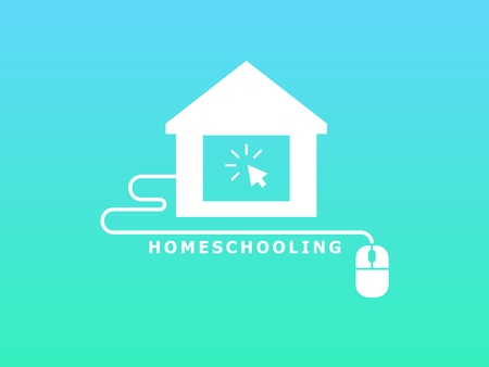 Homeschooling. Online tuition remotely. The symbol of family learning. Text inscription. Green and blue background. White icon. Flat vector illustration.