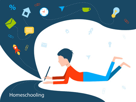 Homeschooling. The boy is studying. The child writes with a pencil. Flat vector illustration. Vettoriali