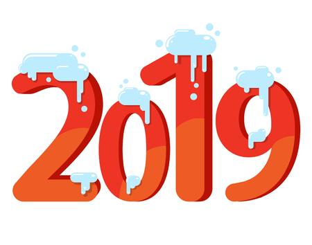 Year 2019 numeric inscription. Number of the year in the snow, red numbers. Flat vector illustration Illustration