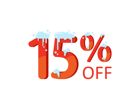 15 off. A discount of fifteen percent. Numbers in the snow. Winter sale, Christmas sale, holiday sale. Flat vector illustration