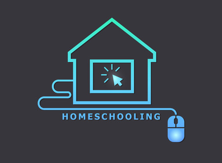 Homeschooling. Online tuition remotely. The symbol of family learning. The house and computer.
