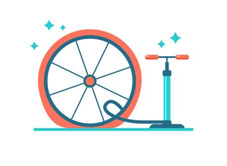 Wheel repair. Pump the tyre. Flat bicycle tyre Çizim