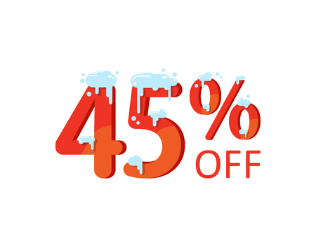 45 off. A discount of forty five percent. Numbers in the snow. Winter sale, Christmas sale, holiday sale. Flat vector illustration