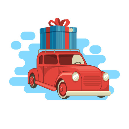 Gift delivery. The car carries a gift on the roof. Vector illustration