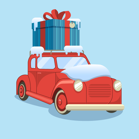 Gift delivery. Snow car is carrying a box. Vector illustration