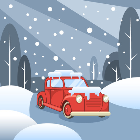Winter forest and road. Car rides in the snow. Vector illustration  イラスト・ベクター素材