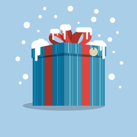 Box with a gift in the snowt. Vector illustration 写真素材 - 127711421