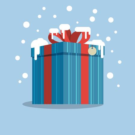 Box with a gift in the snowt. Vector illustration Illusztráció