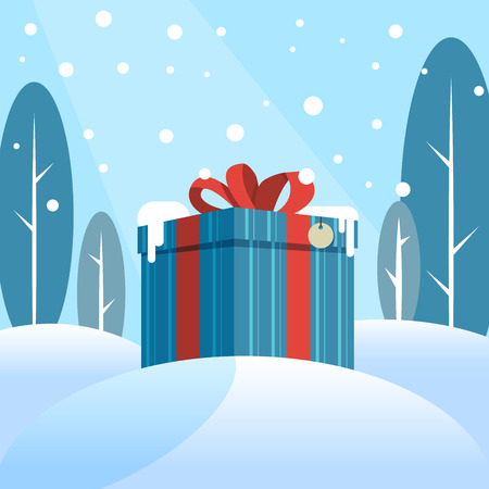 Box with a gift in the snow against the backdrop of the winter forest. Vector illustration Illustration