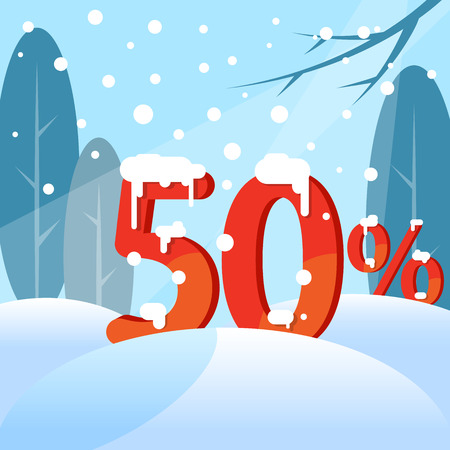 A discount fifty percent. Figures in the snow against the backdrop of the winter forest. Vector illustration