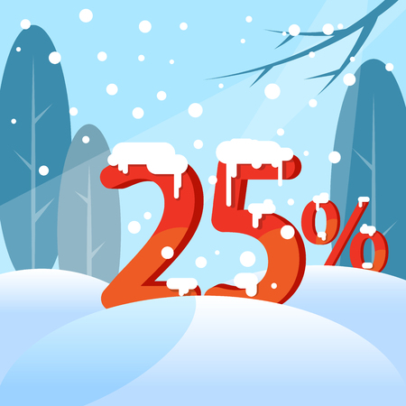 A discount twenty five percent. Figures in the snow against the backdrop of the winter forest. Vector illustration