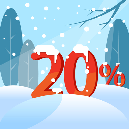 A discount twenty percent. Figures in the snow against the backdrop of the winter forest. Vector illustration