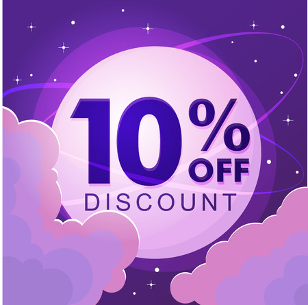 Ten percent discount. Sale Vector flat illustration