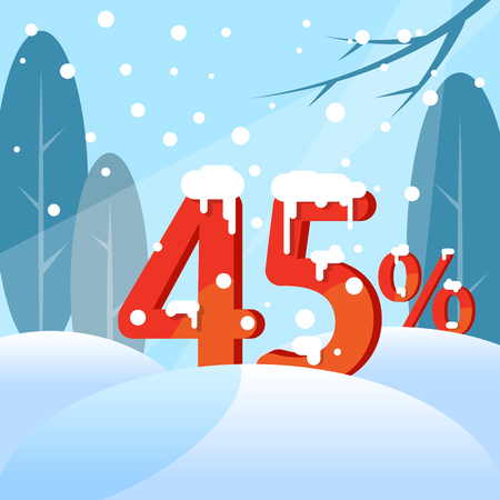 A discount Forty five percent. Figures in the snow against the backdrop of the winter forest. Vector illustration