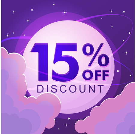 Ten percent discount. Sale. Numbers against the night sky. Vector illustration 写真素材 - 127666627