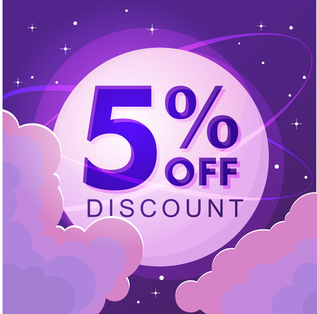 Five percent discount. Sale. Numbers against the night sky. Vector illustration