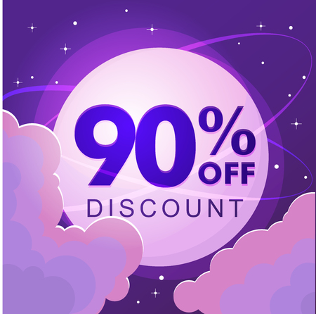 Ninety percent discount. Sale. Numbers against the night sky. Vector illustration