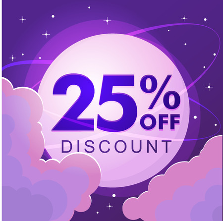 Twenty five percent discount. Sale. Numbers against the night sky. Vector illustration 写真素材 - 127666631